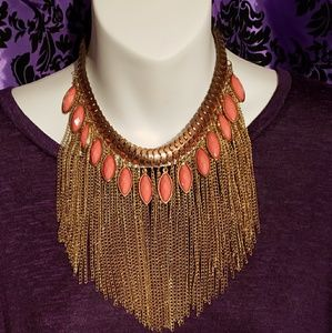 Pink multi-chain bib statement necklace